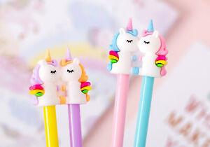 4-24pc Rainbow Unicorn Ballpoint Gel Pens Cute Funky Kids Party Gift Bag Fillers