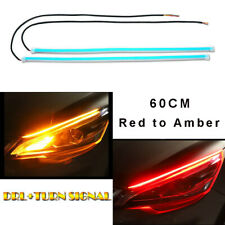 Pair 60CM Red DRL Turn Signal Light Strip Yellow Flowing Sequential LED Tube Bar