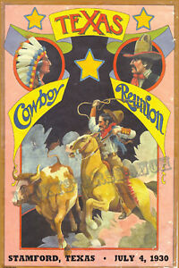 Texas Cowboy Reunion Stamford, Texas Rodeo  Cowboy Cowgirl Vintage Rodeo Posters
