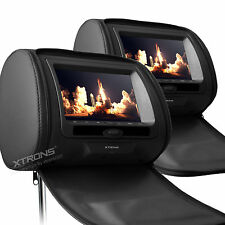 "XTRONS 2 x 7"" Car Headrest Digital DVD Player Game Dual Monitor Screen Black UK"