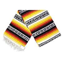 Sunset Red Yellow Mexican Blanket Heavy XL Falsa Native Saltillo Serape Yoga