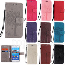 Flip Embossed Patterned PU Leather Wallet Card Stand Case Cover  For Lot Sony KT