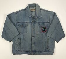 Wrangler USA Men's XL Denim Trucker Jacket  Custom Short Sleeve Patch Distressed