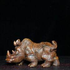 Decoration Exquisite Handwork Boxwood Carving Rhino Auspicious Souvenir Statue