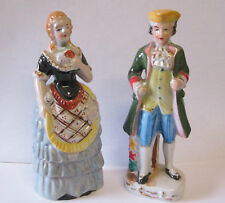 1950'S JAPAN HAND PAINTED BISQUE PORCELAIN COLONIAL COUPLE FIGURINES