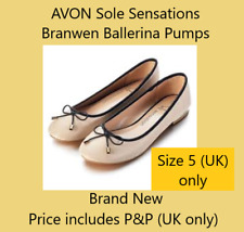 Avon Sole Sensations Flat Ballerina Style Shoes Beige UK 5 **FREE P&P**