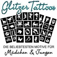 Schablonenset 50 teilig Glitzer Tattoos Mädchen & Jungs / Kinder Tattoos Tattoo