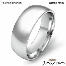 Men Wedding Band Plain Dome Comfort Light Classic Ring 7mm Platinum 12.9g 9-9.75