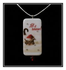 LET IT SNOW TABBY CAT DOMINO NECKLACE