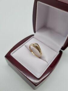 585 Gelbgold Ring  Solitär Diamanten/Brillanten  0,2ct Art Deco