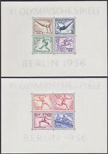 Germany 1936 Summer Olympic Games, Berlin 3pf-40pf MNH Mini-Sheets SGMS613a