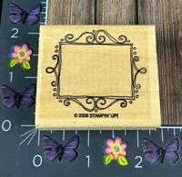 Stampin Up! Flourish Frame Rubber Stamp 2006 Name Tag Box Wood #K84