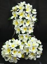 WEDDING BOUQUET BRIDAL BOUQUETS LATEX WHITE YELLOW FRANGIPANI FLOWER SET