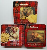 Lot of 3 Empty Tins WALKERS SCOTLAND Shortbread Cookies Various Size Please Read