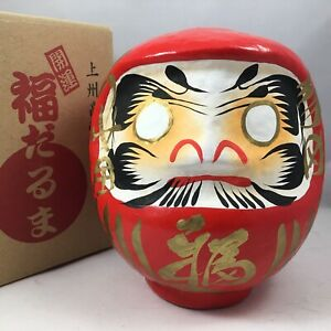 """Japanese 6""""H Red Daruma Doll Wish Making Good Luck Fortune Success Made in Japan"""