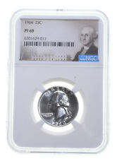1964 PF69 Proof Washington Quarter NGC Graded - White Coin Spot Free PR *0325