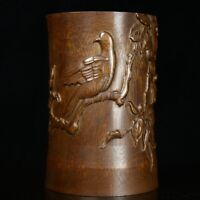 Noble Chinese old Hand-carved birds on trees statue bamboo Brush pot pencil vase