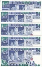SINGAPORE $1 x 5 (ND1987) Boat Series UNC Consecutive numbers FANTASTIC BARGAIN!
