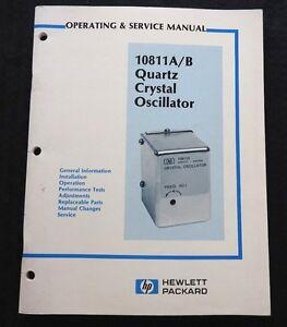 HEWLETT PACKARD HP 10811 A B QUARTZ CRYSTAL OSCILLATOR OPERATING SERVICE MANUAL