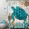 Green Tortoise Shower Curtain Waterproof Polyester Fabric with Hooks Bathroom