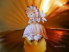 Very RARE VTG Lefton Daisy Bloomer Flower Girl Holds Parasol Figurine GORGEOUS!