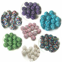 100Pcs Lot 10mm DIY CZ Micro Pave Disco Crystal Shamballa Beads Bracelet Spacer