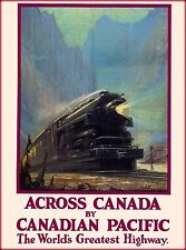 Across Canada by Canadian Pacific Railroad Train Travel Advertisement Poster