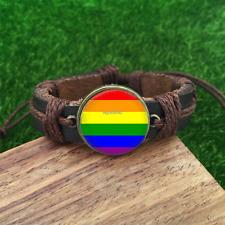 Gay Pride Brown Glass leather & chord Bracelet charm -unisex adjustable-SL802