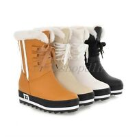 NEW WOMENS WATERPROOF FLAT HIGH CALF FUR LINED LACE UP GIRLS WINTER SNOW BOOTS D
