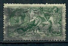 GB 1913 £1 Dull Blue-Green Waterlow Seahorse Fair Used SG404 CV £1600
