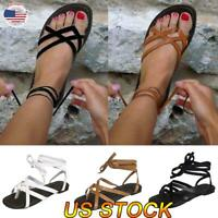 Summer Women Flat Sandals Shoes Lace Up Thong Flip Flops T Strap Strappy Size US