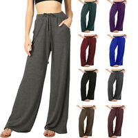Womens Loose Fit Drawstring Solid Casual Pajama Lounge Pants with Pockets