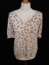 Fatface Floral Top - Size 10 - Pink & White - Short Sleeve