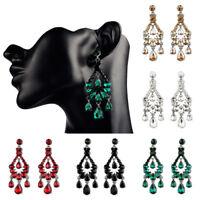 Vintage Crystal Rhinestone Big Chandelier Drop Dangle Earrings Fashion Jewelry