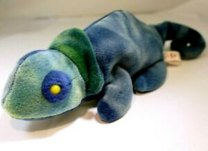 Ty Beanie Baby Rainbow The Blue Chameleon 1997 Retired No Tag 9""