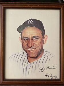 Yogi Berra Autographed Framed Artwork See Description