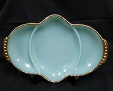 VINTAGE FIRE KING OVEN WARE BLUE MILK GLASS DIVIDED DISH GOLD TRIM