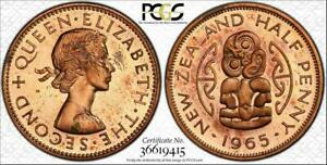 1965 NEW ZEALAND HALF PENNY PCGS PL63RD COLOR TONED COIN IN HIGH GRADE