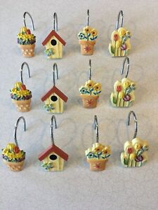 Set of 12 Shower Curtain Hooks Butterfly Birdhouse Tulips Country Bathroom Decor
