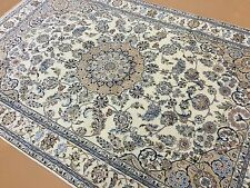 """5'.10"""" X 8'.11"""" Ivory Beige Nain Persian Oriental Rug Hand Knotted Wool & Silk"""