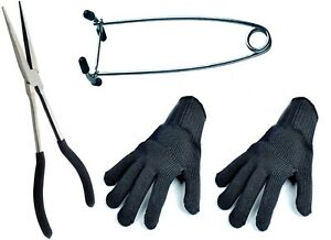 """PIKE UNHOOKING KIT 11"""" PLIERS, GAG AND 2 GLOVES"""