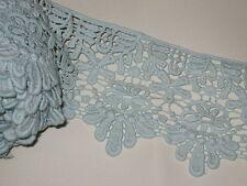 "3 yards in 3 3/4"" width light blue aqua color high end crochet poly cotton trim"