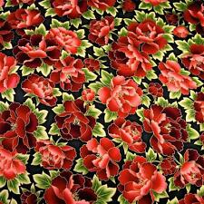 Fabulous Metallic Gold Etched Crimson Red Flowers by R. Kaufman; Cotton Fabric.