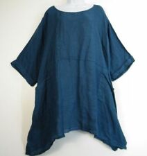 Maglie e camicie da donna blu casual in lino
