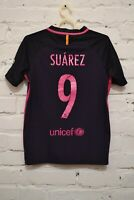 BARCELONA AWAY FOOTBALL SHIRT 2016/2017 SOCCER JERSEY CAMISETA BOYS L #9 SUAREZ