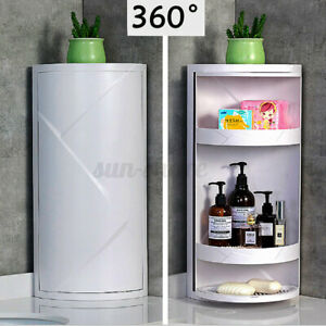 360 Degree Rotating Kitchen Toilet Shelf  Bathroom Corner Storage Rack