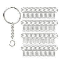 200Pcs Split Key Chain Rings with Chain Silver Key Ring and Open Jump Rings G3T5