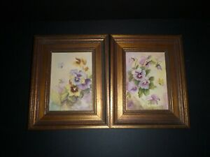 Set Two Vintage Pansy Pansies Flowers Butterfly W/C Painting Elisabeth Schaefer