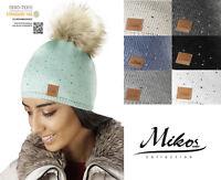 NEUE Damen Bommel-Mütze Strickmütze Long Beanie mit Kristallen Strass Winter 660