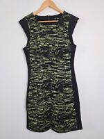 CUE in the City Black & Fluro Corporate Sheath Pencil Dress Women's Size 14 NWOT